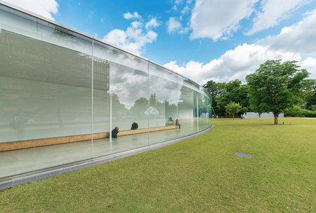 Kanazawa Japan - June 02, 2017 : Unidentified people visit 21st Century Museum. 21st Century Museum is a museum of contemporary art located next to Kanazawa City Hall.