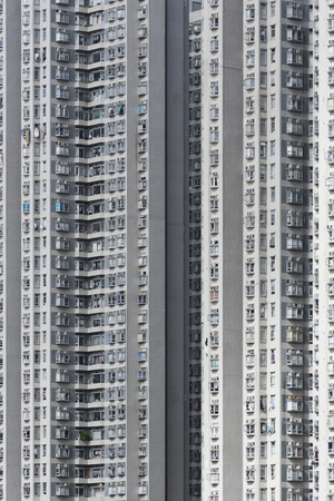 exterior of high rise residential building in Hong Kong city Imagens
