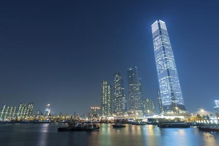 Skyline of midtown of Hong Kong city at night 版權商用圖片