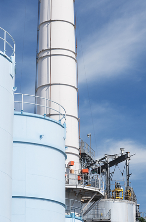 oil tank and chimney in chemical factory
