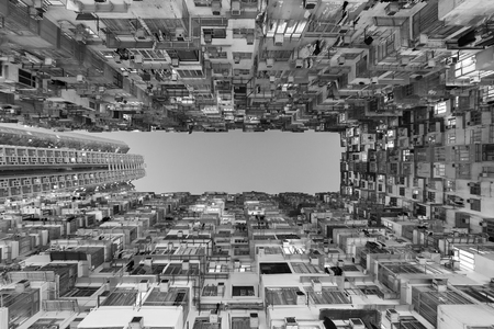 Old residential building in Hong Kong city Imagens