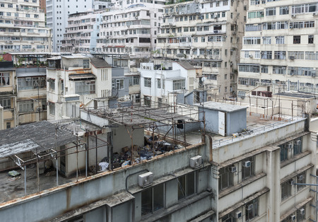 Old residential building in Hong Kong city Stockfoto