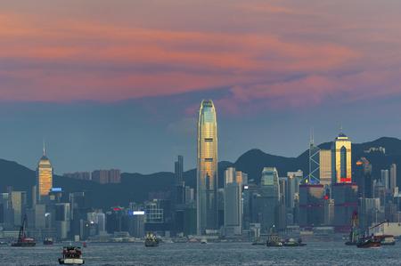 Victoria Harbor in Hong Kong city at dusk