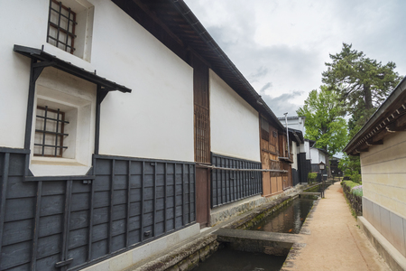 Historical village Furukawa in Hida, Gifu prefecture, Japan. Old town with water canal