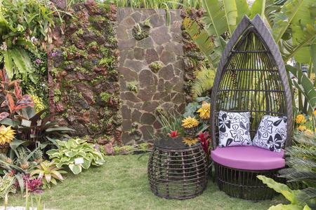 seat in flower garden