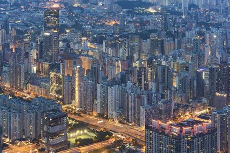 Night scene of aerial view of Hong Kong City