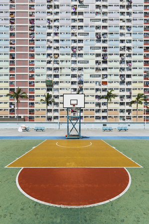 Basketball Court in Public Estate in Hong Kong city