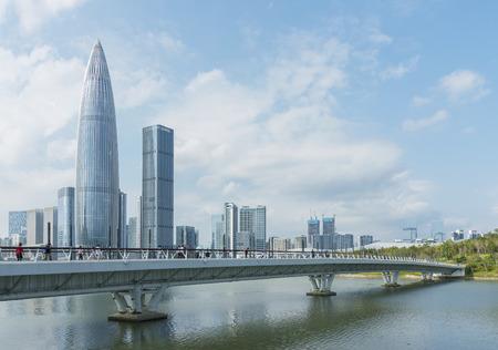Skyline del centro della città di Shenzhen, China