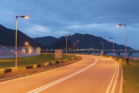 empty asphalt road at dusk in Hong Kong