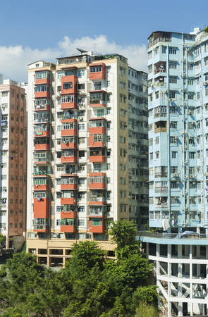 Residential building in Hong Kong city Stock Photo