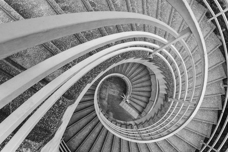 Empty modern spiral stairway, viewed from top