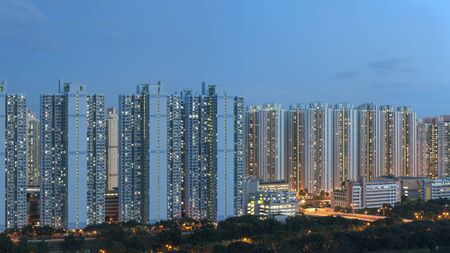 Panorama view of public estate in Hong Kong Imagens