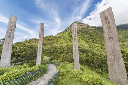Wisdom Path of Heart Sutra - Chinese prayer on trunks in Lantau Island, Hong Kong 免版税图像