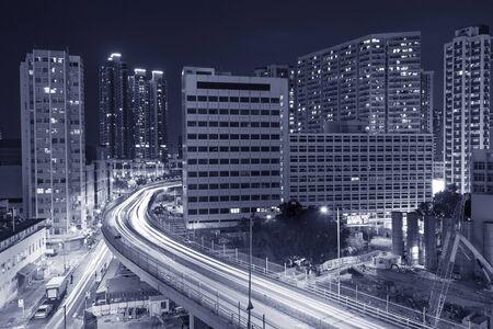 Skyline of midtown of Hong Kong city at night Stok Fotoğraf