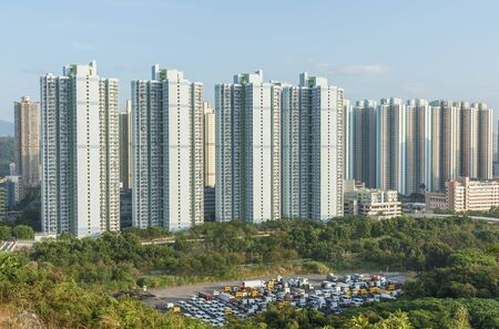 High rise residential building of public estate in Hong Kong city