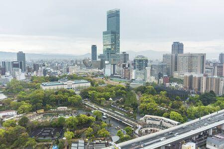 Skyline of downtown of Osaka city, Japan