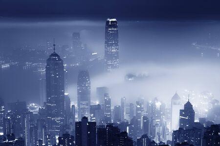 Fog over Hong Kong city at night