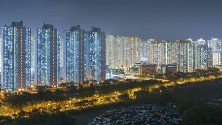 Residential district of Hong Kong city at night