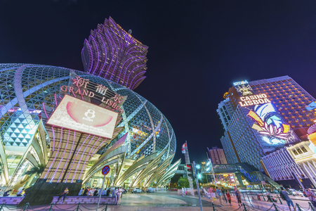 Macau, China - April 01, 2016: Grand Casino Lisboa in Macau. Macau is the worlds top casino market and Casino Lisboa is one of the most well known casinos in the city.