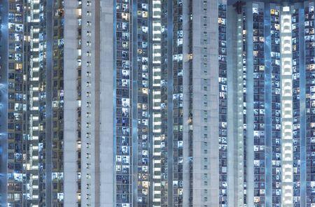 Exterior of public estate in Hong Kong city at night
