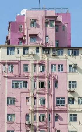 Colorful residential building in Hong Kong city