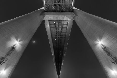 Details of suspension bridge. Building abstract background