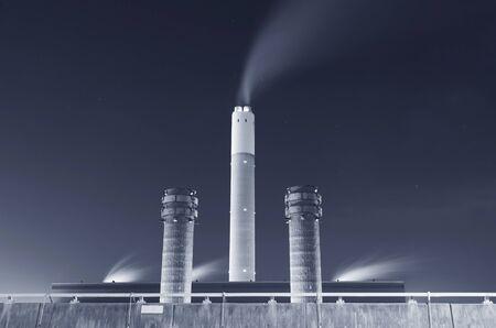 Chimney of power plant at night Reklamní fotografie