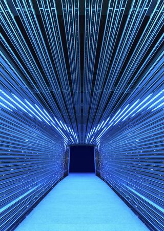 Interior view of futuristic tunnel. Building abstract background Stock fotó