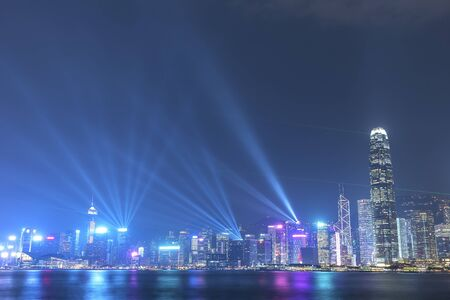 Laser show in Victoria harbor of Hong Kong city