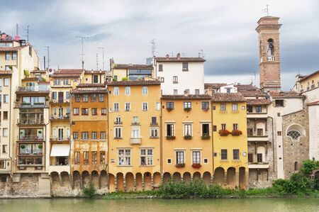 Arno river and historical buildings in Florence, Italy