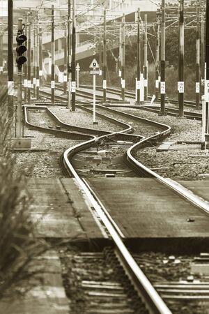 Close up of empty straight railroad track Stock Photo