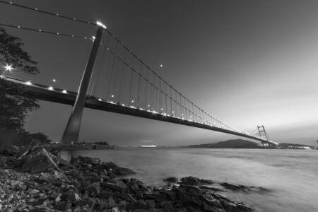 Tsing Ma bridge in Hong Kong at dusk