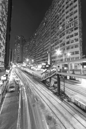 Old residential district in Hong Kong city at night