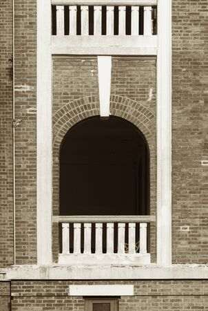 Detail of classic facade with window, balcony and balustrade Stockfoto