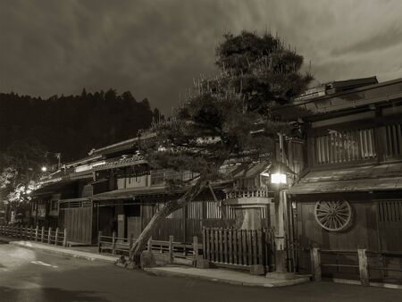 Historical street at historical town Takayama in Japan