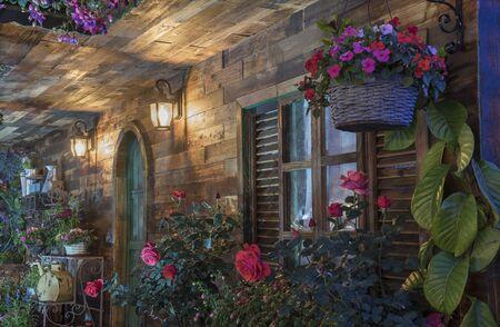 Landscaped backyard flower garden of residential house