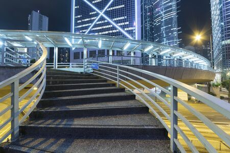 stair of pedestrian walkway in midtown of Hong Kong city at night Banque d'images - 143472004