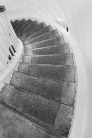 Old spiral staircase in black and white