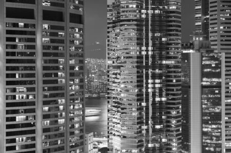 Exterior of modern building in Hong Kong city. Architecture abstract background