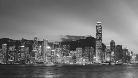 Panorama of skyline of Hong Kong city at dusk Stock Photo