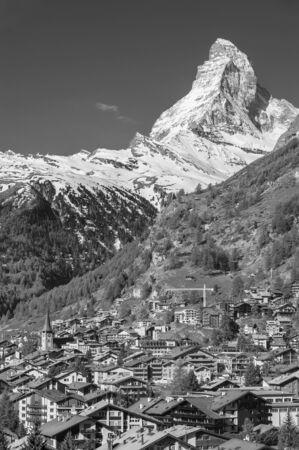 Idyllic landscape of Mountain Matterhorn and resort village Zermatt, Swiss