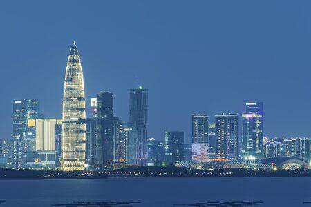 Skyline of Shenzhen city, China at night. Viewed from Hong Kong border