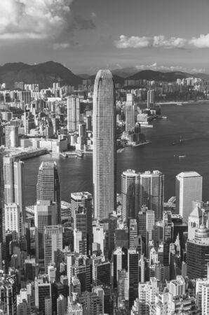 Victoria Harbor of Hong Kong city, viewed from the peak Фото со стока