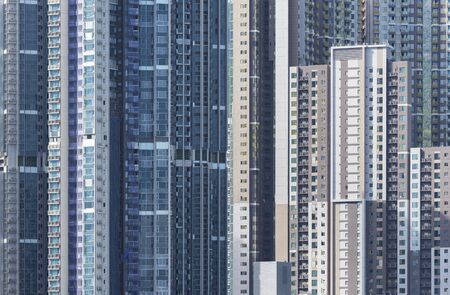 exterior of high rise residential building in Hong Kong city Фото со стока