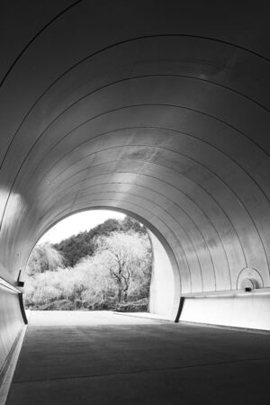 Entrance of futuristic tunnel