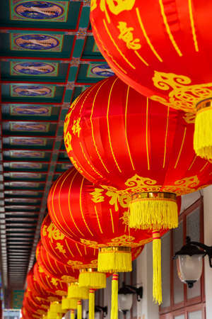 Lantern in Chinese temple in Hong Kong, China
