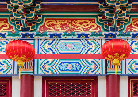 Facade of historical Chinese temple in Hong Kong