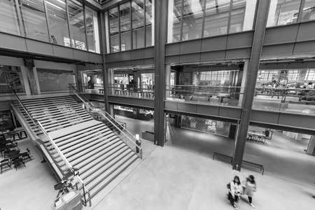 Hong Kong, China - November 08, 2019 : The interior view of shopping mall The Mills. The Mills is a landmark revitalization project, it witnessed the manufacturing heyday in the 1960s.
