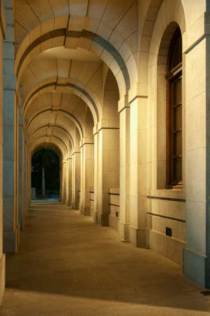 Classical corridor of historical building. Classical architecture background Фото со стока