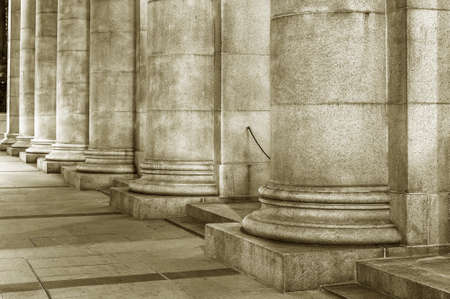 Row of column of historical building. Classical architecture background